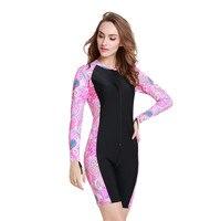 Women One Piece Swimwear Diving Surf Swimsuit Lycra Long Sleeves Bathing Suit UV Sun Protection Skinny Bodysuit Pink Waterproof