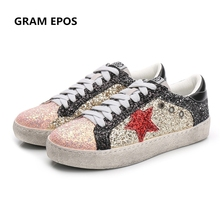 GRAM EPOS 2018 Spring Autumn Women Trainers New Glitter Leather Do Old  Dirty Shoes Mixed Color c7205f0d2e44
