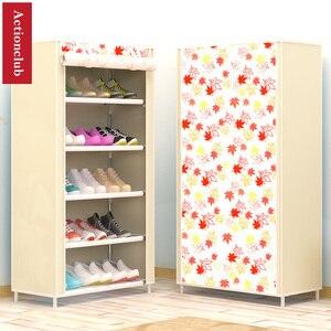 Image 4 - Actionclub sześć warstw włóknina przechowywanie szafka na buty pyłoszczelna półka na buty DIY półki do oszczędzenia miejsca Organizer na obuwie półka