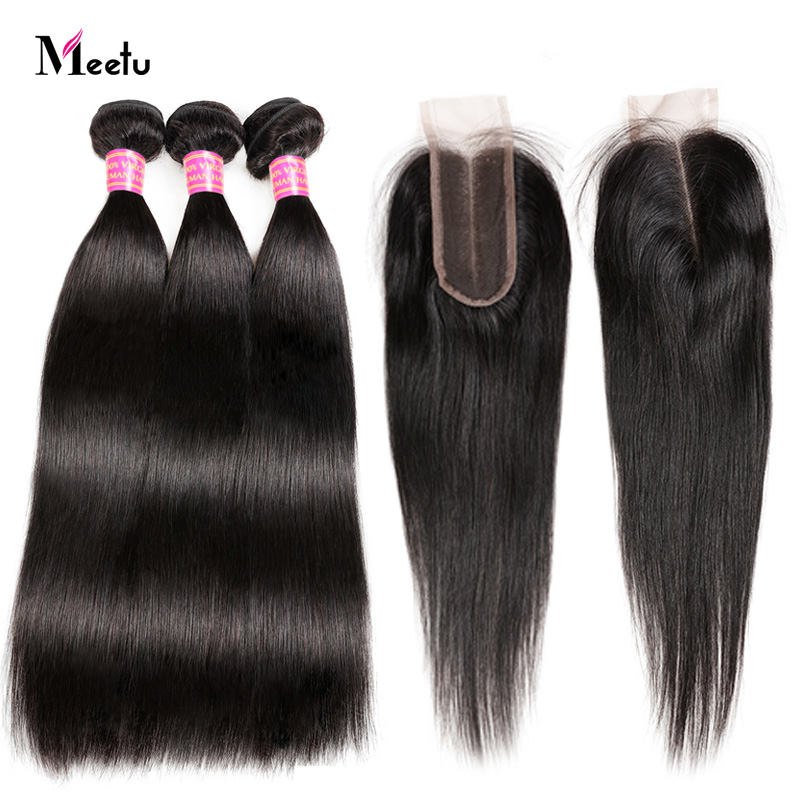 Indian Straight Human Hair Weave With Closure 2 3 Hair Bundles With Closure With Baby Hair