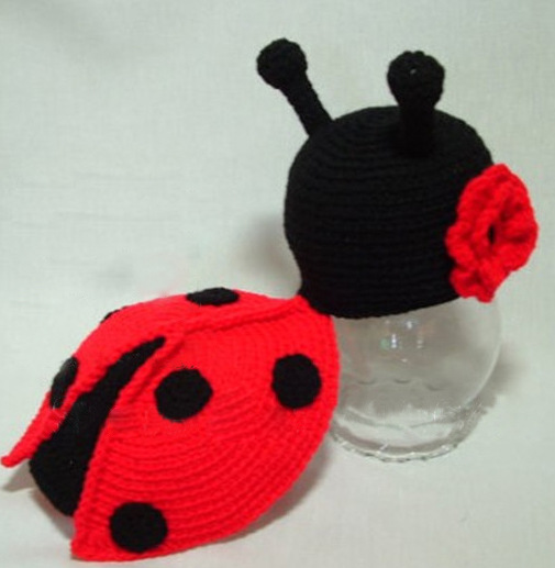 Cute Cartoon Baby Handmade Knitting Crochet Knit Beetle onepiece Photo Photography Props Outfits Set For 0-1Month OR 3-4month