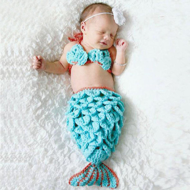 Newborn Baby Crochet Mermaid Tail Photography Props Girl Toddler Mermaid Costume Outfits Handmade Cocoon SG025