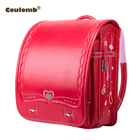 Coulomb Children Backpack Love Necklace School Bag For Boy And Girl For Kid PU Hasp Orthopedic