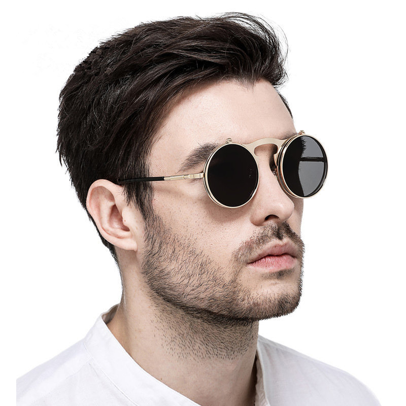 2dbfe157d3bcb KUJUNY Retro Metal Punk Steam Flip Sunglasses Round Designer Mirror Frames  Sun Glasses Vintage Men Women s Steampunk Eyewears