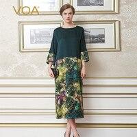VOA Плюс Размер Свободное шелковое платье с рисунком темно зеленое винтажное Harajuku женское рукав летучая мышь Повседневный длинное платье ве