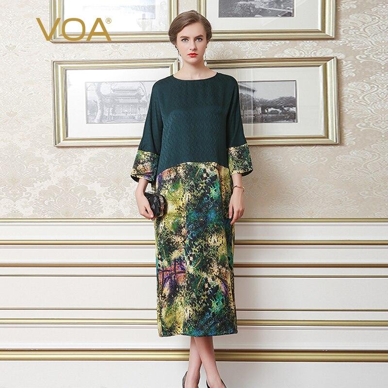 VOA grande taille Lâche Soie Imprimer Robe Vert Foncé Vintage Harajuku Femmes Chauve-Souris Manches robe longue décontractée Printemps robes elbise A7079