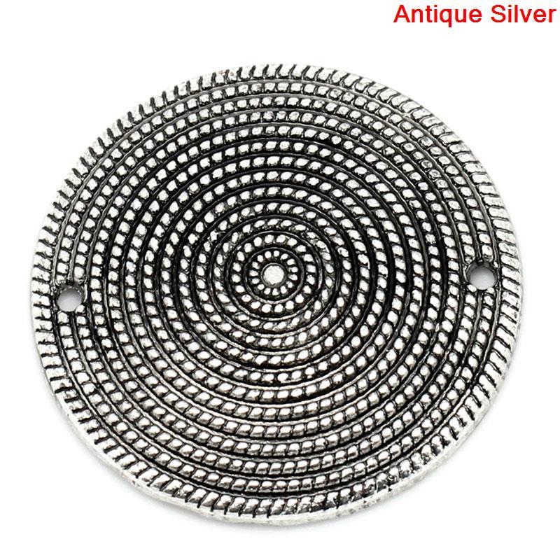 Zinc Metal Alloy Connectors Findings Round Antique Silver Spiral Pattern 3.1cm(1 2/8