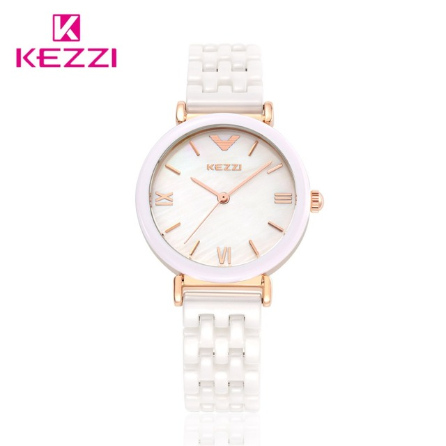 Kezzi Women Quartz Watch Waterproof White Ceramic Watches Luxury Brand Dress Wri