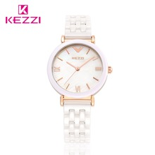 Kezzi montre à Quartz pour femmes, en céramique, blanche, étanche, marque de luxe, robe, bracelet