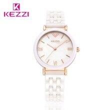 Kezzi reloj de cuarzo para mujer, resistente al agua, de cerámica, blanco, de pulsera, femenino