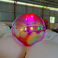 1m Rainbow Color Mirror Surface Christmas Ball Disco Mirror Ball Light Mirror Reflection Stage Festival Hanging Balloom