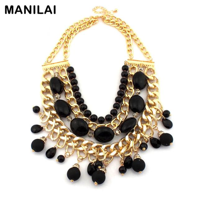 MANILAI Moda Colares Multilayer Ceramic Resin Beads Tassel Pingentes Mulheres Declaração Robusto Gargantilha Cadeia Colares CE2649