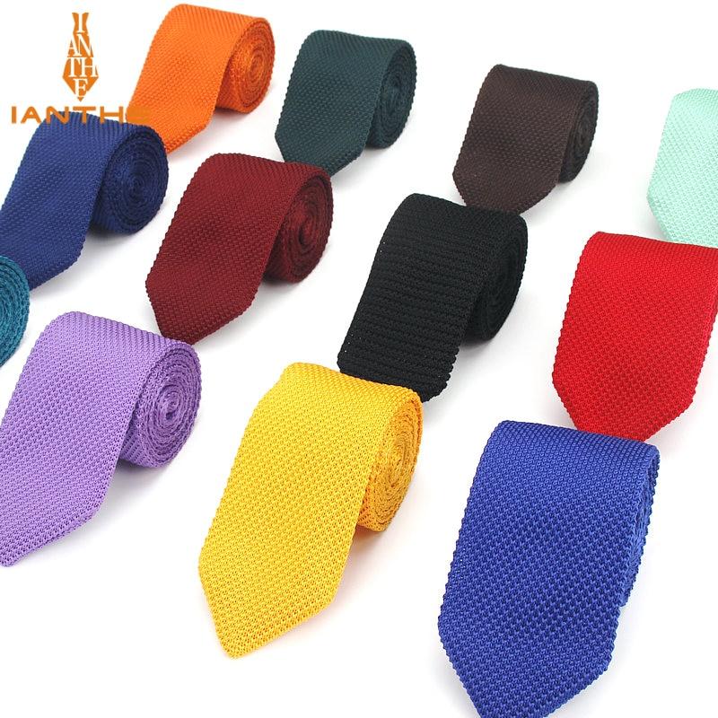 Fashion Slim Neck Tie Wedding Knitt Necktie For Men Skinny Knit Ties Man Gravata Candy Color Navy Narrow Knitted Slim Neckties