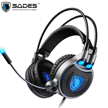 Sades R1 Laptop Gaming Headphones USB Finest 7.1 Encompass Stereo Headset Gamer with Microphone Vibration LED Gentle Gentle casque