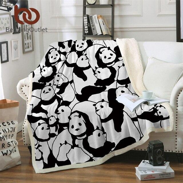 BeddingOutlet Sherpa Blanket Throw Blankets Black and White Cute Pandas Bed Blankets Crystal Velvet Fleece Sherpa TV Blanket