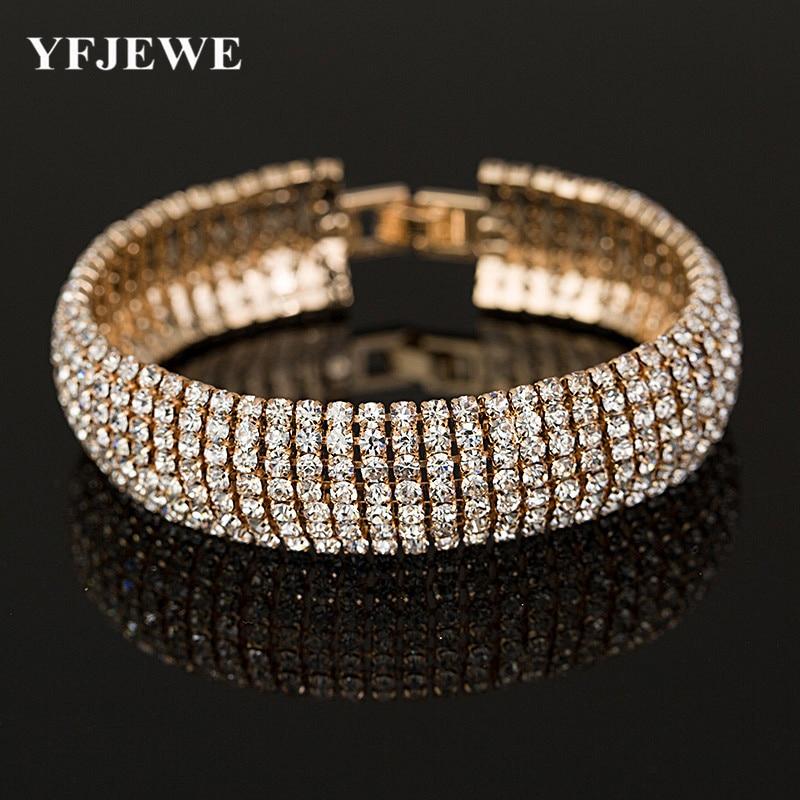 2017 Луксузни кристални ременчићи за жене Сребрне наруквице и наруквице Фемме свадбени свадбени накит Банглес Б011