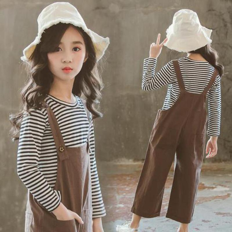 2018 Autumn Baby Girls Clothes Sets 2 Pcs Kids Suits Infant Children Clothing Set Striped T-shirts Tops + Jumpsuits 10 12 Years iyeal newest 2018 spring autumn baby girls clothes sets denim jacket tutu dress 2 pcs kids suits infant children clothing set