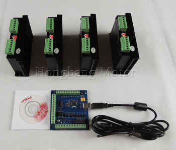 CNC TB6600 mach3 usb 4 Axis Kit, 4pcs TB6600 1 Axis Driver + one mach3 4 Axis USB CNC Stepper Motor Controller card 100KHz - DISCOUNT ITEM  15% OFF All Category