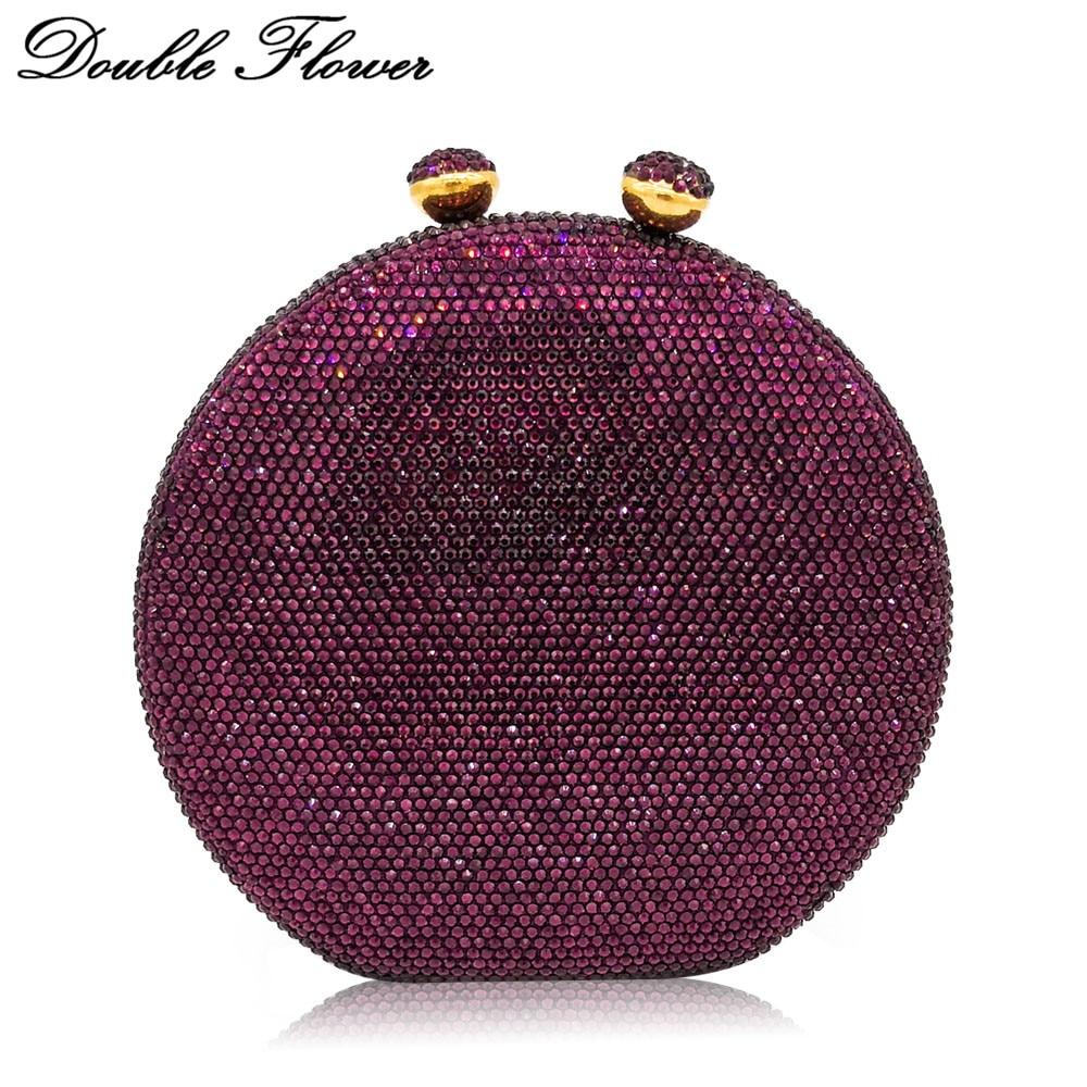 Double fleur baiser fermoir rond circulaire femmes violet cristal embrayage soirée sacs à main étui rigide mariage Cocktail diamant sac