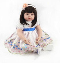 New 22 Inch Dolls Handmade Realistic Lifelike Real touch NPK Silicone Reborn Baby Dolls Vinyl Silicone newborn Doll Girl Gift