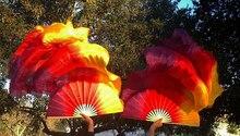 2018 Cao Cấp Bán Chạy Thật 100% Lụa Mạng Che Mặt 1 Vòng Tay Nữ Chất Lượng Lụa Bụng Nhảy Múa Quạt Trơn Màu Đỏ Vàng 5 Kích Thước