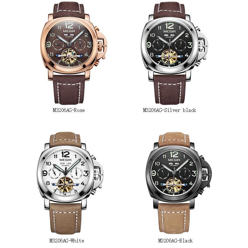 Megir luxus männer armee marke mechanische uhren mode relogio masculino leder armbanduhr mann skeleton stunde für männlichen 3206AG-in Mechanische Uhren aus Uhren bei  Gruppe 2