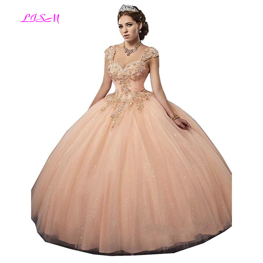 a62c6e039f5 Luxurious Crystals Sweetheart Ball Gown Quinceanera Dress Long Tulle Beaded  Prom Dress Elegant Lace up Tulle