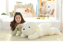 new plush big lovely beige lying dog toy lovely sweet shy dog doll birthday gift about 80cm