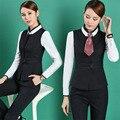 Plus Tamaño 4XL Pantsuits Formales Profesional Business Women Work Wear Trajes Chaleco + Pantalones/Falda de Las Señoras Blazers Trajes Uniformes