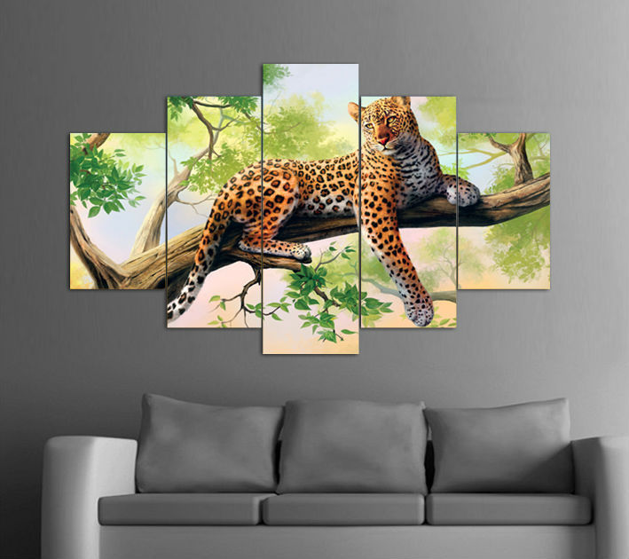 5 panels modern art large hd leopard lying green tree top rated canvas print painting