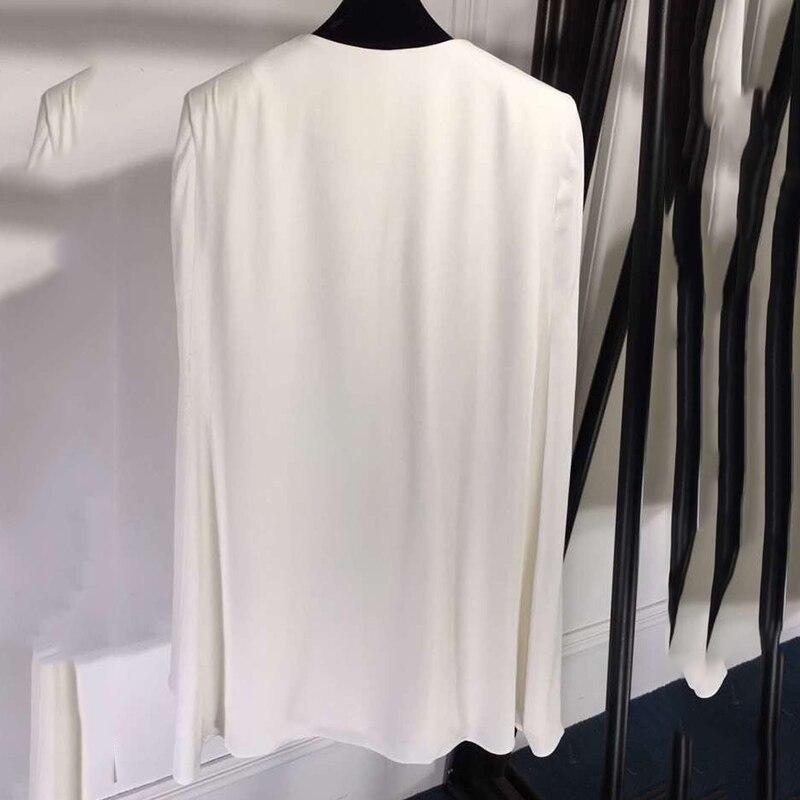 Blanc Mode Mélange Veste Nouvelle Pour Arrivées 2019 Femmes Survêtement Manteaux Limitée Marque Breasted De Double V cou 1W6nx1r