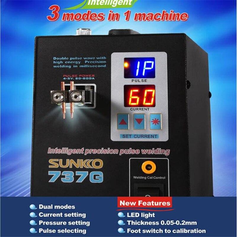 SUNKKO 737G 18650 Lithium Battery Spot Welder Machine 1 5kw LED Light Spot Welding Machine For Spot Welding Pulse