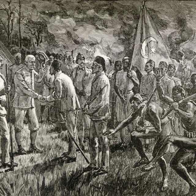 Mehmet Emin Pasha And Gaetano Casati Arrive At Sir Henry Morton Stanley's Lake Shore Camp At Lake Albert In Africa 188 1