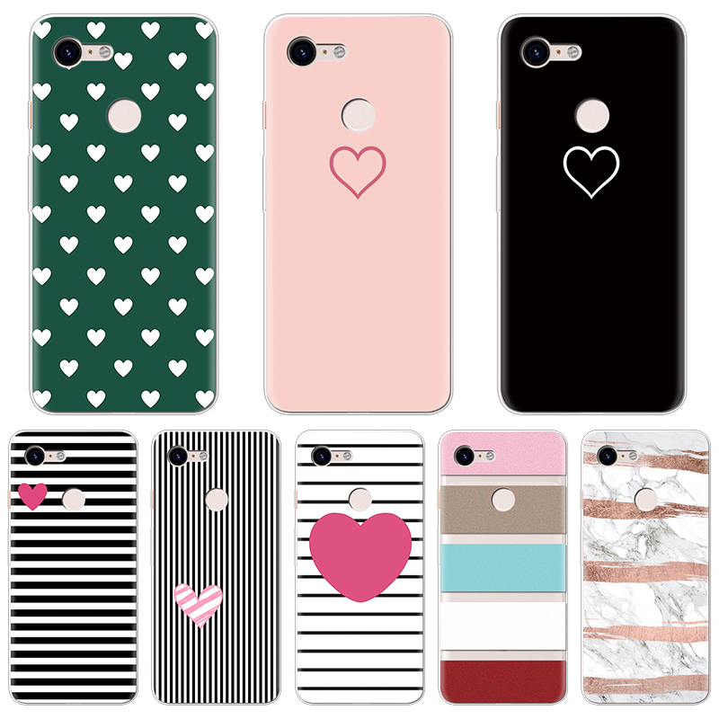 Couple Pattern Cover Cases For Fundas Google Pixel 3 Case Heart Lover Stripe Soft TPU Protective Back Phone Shells Coque Capa
