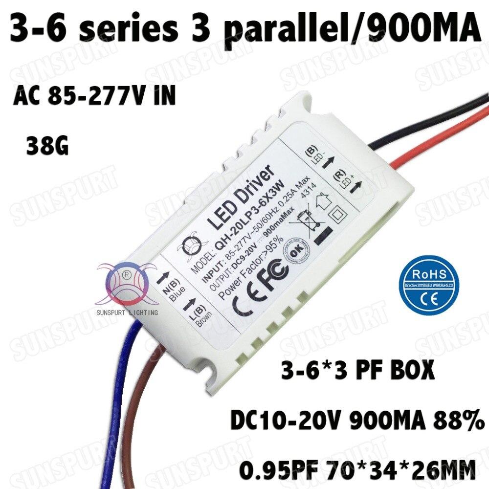 ჱ6pcs by ce emc lvd 6w ac85-277v led driver 1-6x1w 300ma dc2-20v.