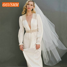 2019 Simple Women White Bridal Veils With Comb Two Layers Tulle Short 120cm Ivory Bride Veil Cut Edge Cheap Wedding Accessories