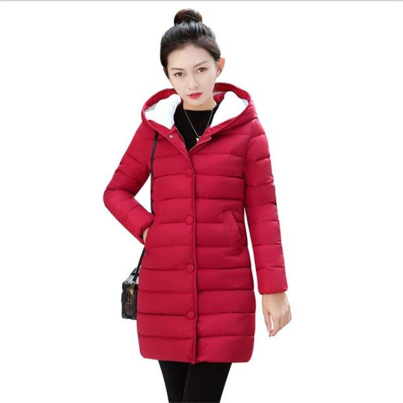 Autumn Winter Women Medium-Long Jacket 2018 Hooded Female   Parkas   Plus Size 3XL Winter Coat Female Down Cotton Jacket Hooded Q472