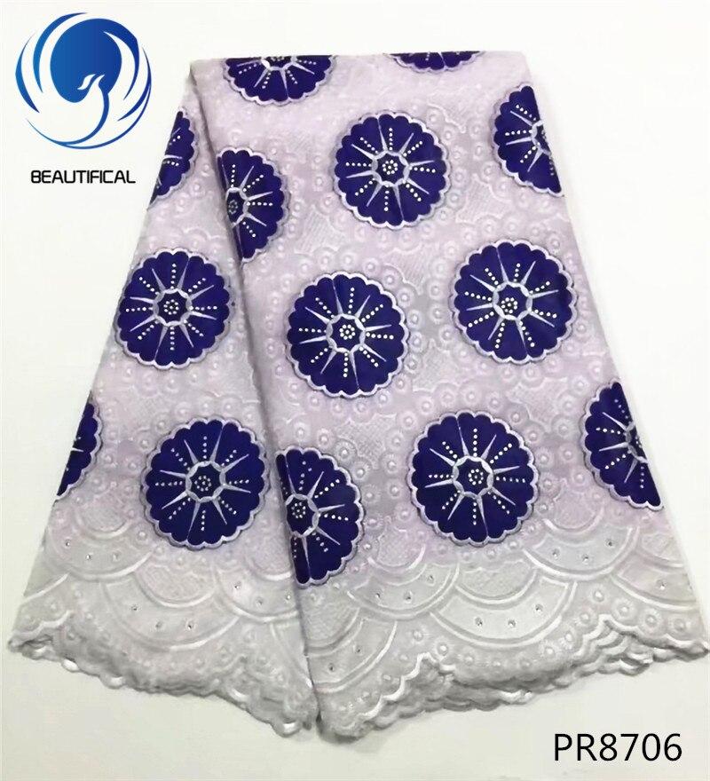 Hermosa tela de encaje blanco de algodón suizo bordado azul de alta calidad tela de encaje de gasa Suiza africana para vestido de novia PR87-in encaje from Hogar y Mascotas    1