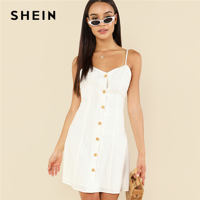 9750eb703e7c5 SHEIN White Elegant Button Up Front Backless Spaghetti Strap Sleeveless  Natural Waist Cami Short Dress Summer