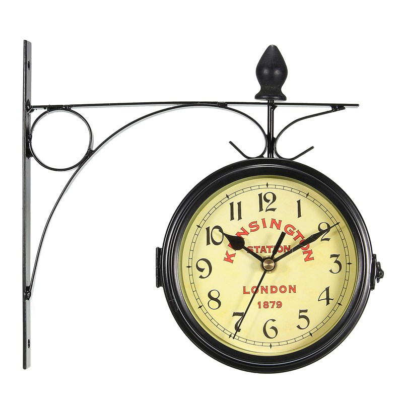 Wall-Clock Decorative Station Antique-Style Vintage Double-Sided Metal-Frame