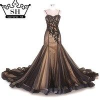Short Mermaid Wedding Dress Black Color Pearls Tulls Long Floor Length Sleeveless Bride Dress 2016 Real