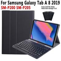 Case Keyboard For Samsung Galaxy Tab A 8 Plus 2019 SM P200 SM P205 P200 P205 Case for Samsung Tab A 8 2019 Keyboard Cover +Pen