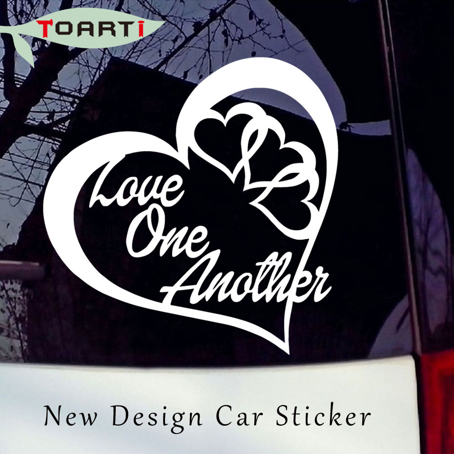 Love One Another Heart Vinyl Decal Sticker Car Window Wall Bumper Peace Symbol Self Adhesive Waterproof Art Car Styling Stickers