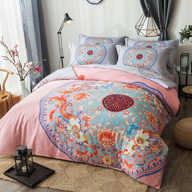 ab6720ff492 Oriental Classical Floral Double Happiness Bedding Set Queen King Size Duvet  Covers Bed Sheets Chinese 100% Cotton Bedlinen
