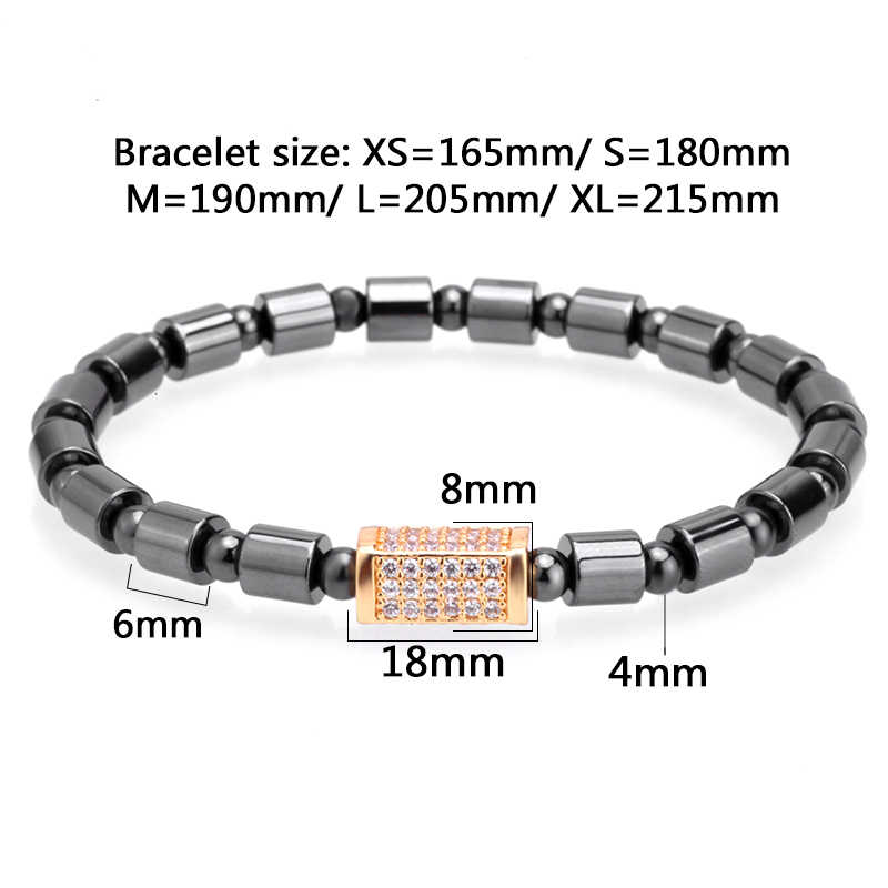 Mcllroy charms bracelet men 6mm cubic inlay zircon titanium stainless steel beads bracelets trendy jewelry homme erkek bileklik
