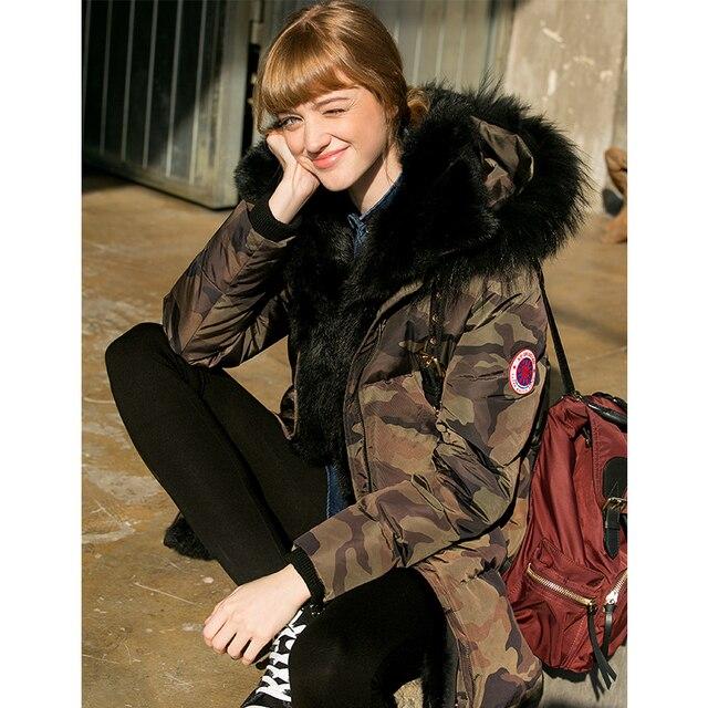 77bfd3fa661 New Winter Women Coat Camouflage Jacket Medium Length Warm High Quality  Woman Down Rabbit Fur Parka Winter Coat with Raccoon Fur
