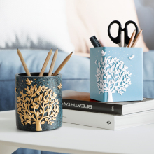 Resin Nordic office table pen holder Desktop storage creative home office accessories organizer desk pencil holder