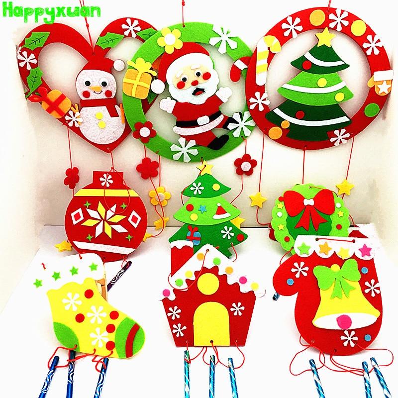 Happyxuan 9pcs Set Children DIY Crafts Kits Felt Christmas Toy Wind Chime Appliques Handcraft Supplies Preschool Educational