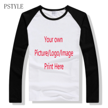 PSTYLE Raglan tshirt Long Sleeve T Shirts Men Custom T-shirt Own Design Logo Printing Man Casual Tee Tops Autumn Clothing