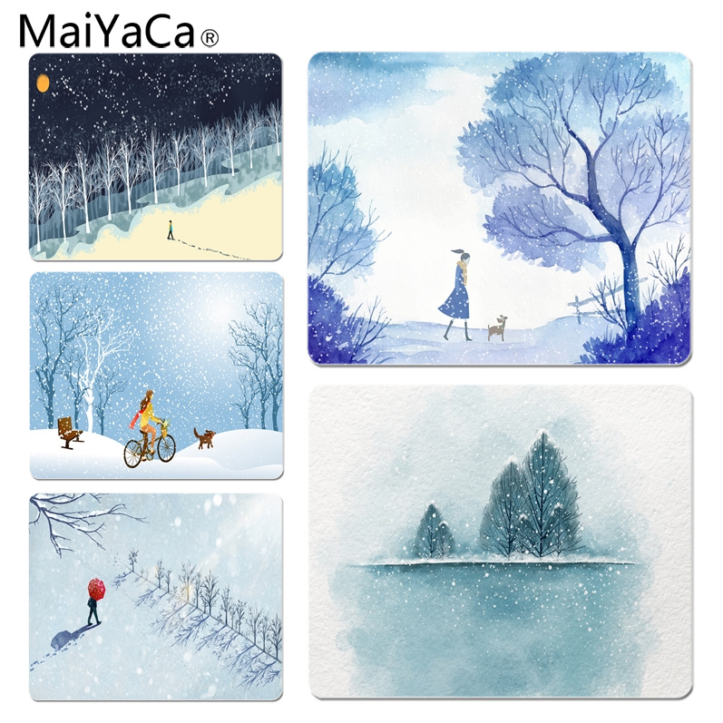 Rational Maiyaca Boy Gift Pad Snow Walking Dog Walks High Speed New Mousepad Size For 18x22cm 25x29cm Rubber Mousemats Relieving Rheumatism And Cold Computer & Office